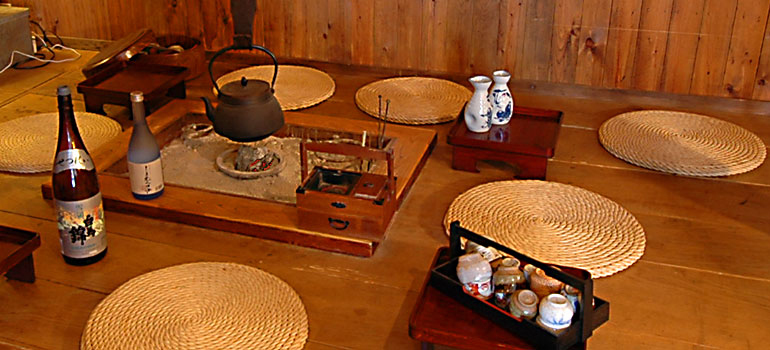 "please relaxing, surrounding the ""Irori"" in the lodge, drinking ""Jizake"" and eating a delicious nibbles!"